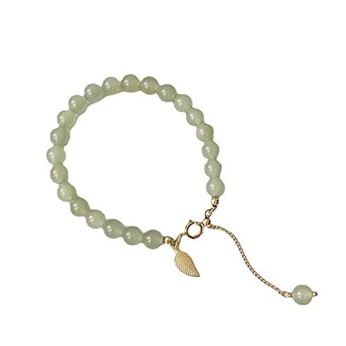 N/A Schmuck Hetian Jade Armband 6mm weiblich Single Circle 14k Gold mit Jade Armband Perlen einfache Atmosphäre und frisch Jubiläum Muttertag Weihnachten Geburtstagsgeschenk