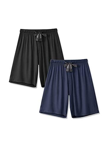 DAVID ARCHY Men's 2 Pack Soft Comfy Bamboo Rayon Sleep Shorts Lounge Wear Pajama Pants (XL, Black/Navy Blue)