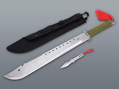 KOSxBO® Set XXL Machete 665 mm mit Wurfmesser im klassischen Survival Military Style - Prepper - Zombie Dead - Hunter Oliv grün