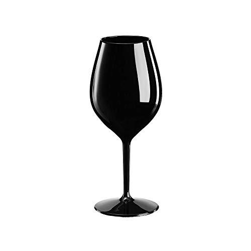 Sovie Tableware | Mehrweg Weinglas aus Tritan (Kunststoff) 510ml Schwarz | Trinkglas Glas Wasserglas Rotweinglas | 1 Stück