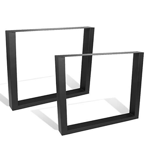 BMOT 2x Pieds de table métal 90x72cm, pieds de meubles industriels bricolage, Pieds de table avec tapis de sol réglables, pour banc de salon, table basse de jardin, table à manger de cuisine, noir