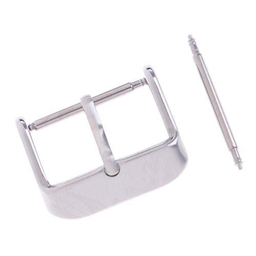 Edelstahl Uhrenarmband Silber poliert Schultern Schließe Zunge Schnalle Armbanduhr Band Zubehör - Silber 14mm