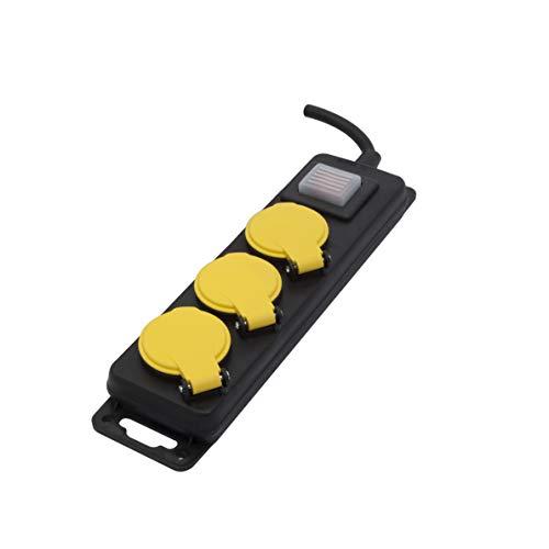 Chacon 46701 stekkerdoos met schakelaar 3 x 16 A-3 m, zwart/geel