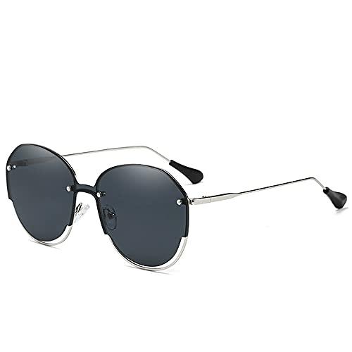Gafas de Sol clásicas enamoradas de arroz sin Marco Gafas de Sol Irregulares para Hombres Estilo Retro Vintage,Gris