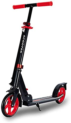 YAOJIA Scooter Plegable para Adultos Patinete Deslizante de un Solo pie para niños, Patinete de 78-100 cm de Altura Ajustable   Patinete de cercanías Plegable (Color : Red)