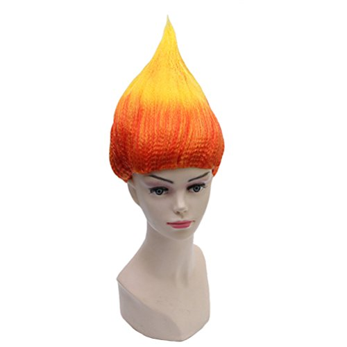 BERON Flame Shape Hair Cosplay Costume Party Wig Halloween Fire Wig (Flame Color)