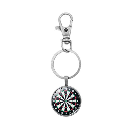 Schlüsselanhänger mit modischen Blumen aus künstlichem Edelstein, baumelnder Schlüsselanhänger, Schlüsselhalter, Tasche, Geldbörse, Ornament – Pink Gr. Einheitsgröße, Silberfarbene Dartscheibe.