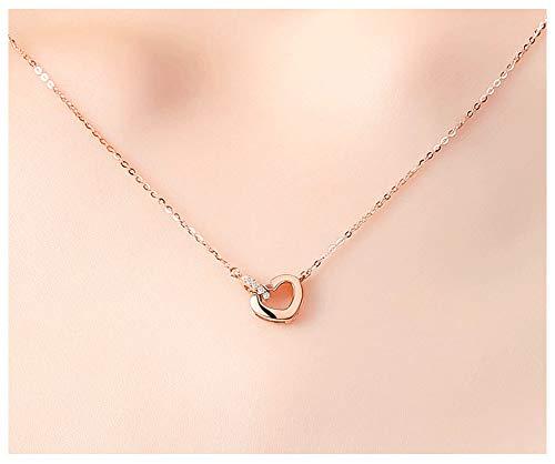 XIRENZHANG Collar para mujer de plata de ley 925, collar de amor, colgante de amor, joya de regalo