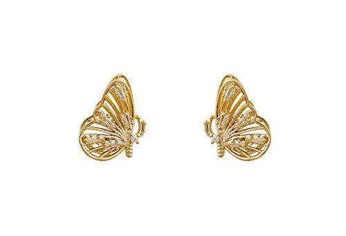 RR-CZY 925 Silver Needle Zircon Three-Dimensional Butterfly Earrings 2Cm