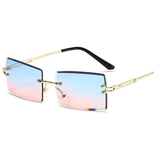 ZYIZEE Gafas de Sol Gafas de Sol sin Montura para Mujer Gafas de Sol rectangulares pequeñas de Moda Estilo de Viaje UV400 Tonos Marrones Dorados para Hombres