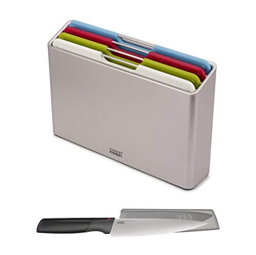 Joseph Joseph 98995 Juego de tablas para cortar con estuche de almacenamiento Folio y cuchillo Elevate GRATUITO, Plastic