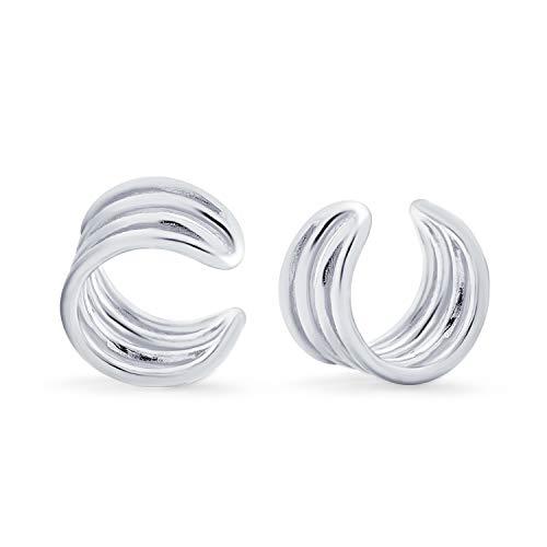 Minimalista Geométrico 4 banda dividida cartílago oídos Clip Wrap Helix Pendientes sin perforar oreja 925 plata de ley
