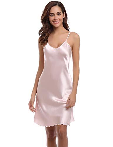 Abollria Womans Nachtjurk, Dames Zachte Zijdeachtige Pyjama Nachtkleding, Satijn Negligee Nachtjapon Slaapmode Womens Kimono Robes Nachtjurk Pure Kleur Korte Stijl