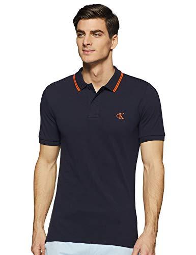 Calvin Klein Jeans Herren Ck Essential Tipping Slim Polo Hemd, Nachthimmel/Orange, S
