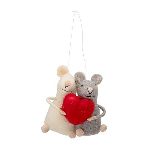Bloomingville - Ornament/Weihnachten/Baumschmuck - Wolle - Rot/Weiß - (LxHxB) 8 x 8,5 x 5 cm