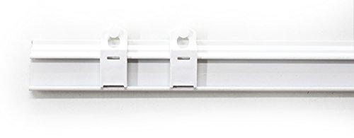 Rollmayer Weiß Paneelwagen Set aus Aluminium Universal mit Klettband (45 cm - mit Beschwerungsstange) wählbar 45-120cm, Rollwagen für Schienensystem/Schiebegardinen/Flächenvorhänge