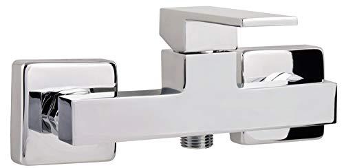 Calmwaters® - Modern Square - Eckige Einhebel-Wannenarmatur mit Umsteller für die Badewanne zur Aufputz-Wandmontage - 13PZ2418