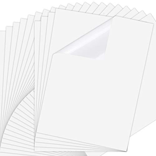 LUTER 25 Fogli 21x 29,5 cm Carta Adesiva per Getto d'inchiostro, Pellicola per Lucidi Stampabile Etichetta in Carta ad Asciugatura Rapida per Stampanti Laser a Getto d'inchiostro