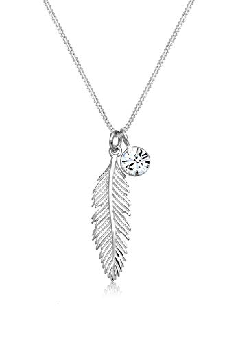 Elli Necklace Women Feather Pendant with Swarovski Crystal in 925 Sterling Silver
