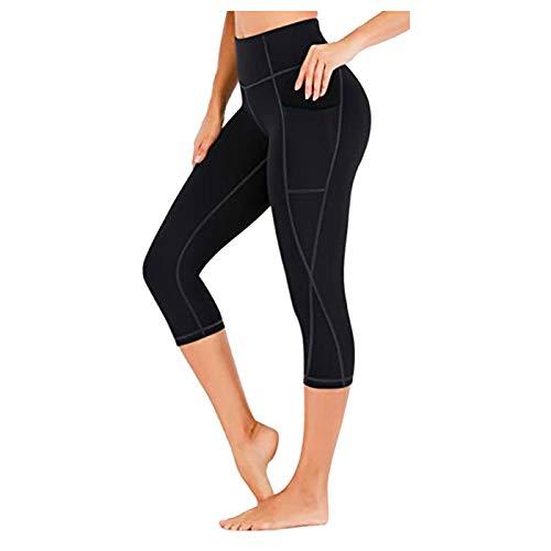 Hailouhai Pantalones de yoga de cintura alta con bolsillos para mujer, control de barriga, leggings deportivos con bolsillos de cintura alta, leggings de gimnasio para mujer
