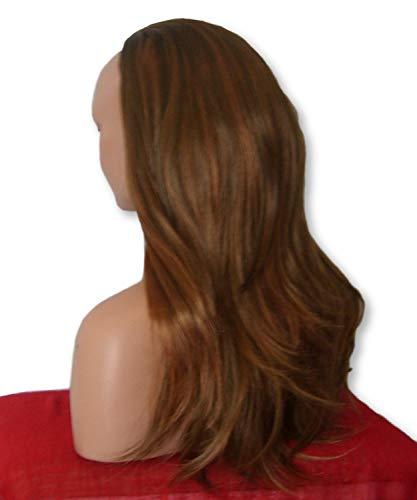 perruque Fashion 55,9 cm Mesdames 3/4 Perruque moitié Fall – sexy longue droite couches Flick style – Marron clair méché Auburn – Résistant à la chaleur – Synthétique Clip de cheveux de femmes Extension Y24