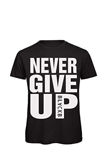 I Love Football Never Give UP T-Shirt Herren Schwarz Fan Fußball Fun Sport & Freizeit Shirt (XL)