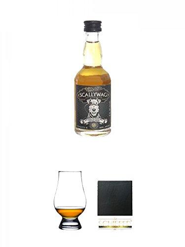 Scallywag Blended Whisky 0,05 Liter Miniatur + The Glencairn Glass Whisky Glas Stölzle 1 Stück + Schiefer Glasuntersetzer eckig ca. 9,5 cm Durchmesser