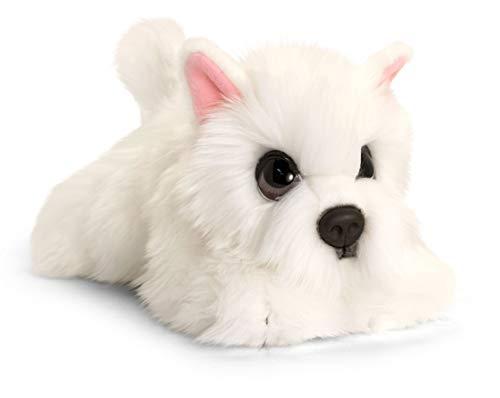 Lashuma Keel Toys Plüschtier Hund Westie, Kuscheltier Weiß, Stofftier Hündchen liegend 32 cm
