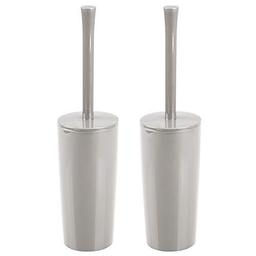 mDesign - Toiletborstel met houder - 2-delige set - essentieel/vrijstaand/slank - plastic - steen