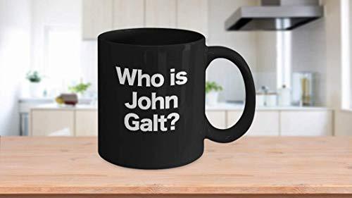 11 oz Coffee Mug, Tea Cup, Ayn Rand Mug Objectivism Black Coffee Mug Gift for Objectivist Who is John Galt?