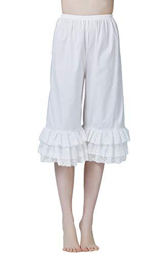 BEAUTELICATE Bloomers Pumphose Damen Baumwolle Pettipants Hosenunterröcke Rüschenhose Hosenrock Für Steampunk Viktorianisches Renaissance Karneval Kostüm Elfenbein