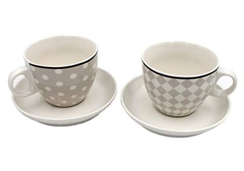 Flirt by R&B 2er Set Cappuccino-Tasse mit Unterteller, Luna Creme, grau-Töne, Tassen von Ritzenhoff & Breker