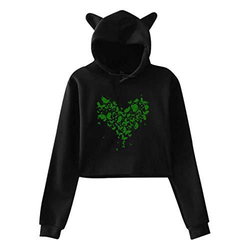 Papillon Coeur Fleur Oreille Chat Pull à Capuche Fille Crop Top Hip Hop Chaud Cool(XXL,Noir)