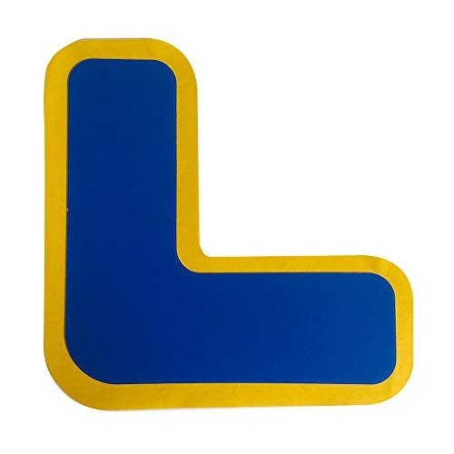 セーフラン(SAFERUN) フロア表示 (高耐久タイプ) L字型 青色 高強度PC材 両面テープ 厚さ約1mm 50x150x150mm 10枚セット 区画標示 貼るだけ簡単設置