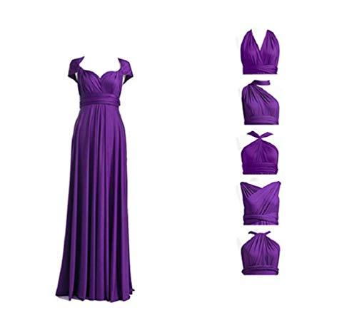 Infinity Kleid inklusive Bandeau Top Brautjungfernkleid Gr. 34-48 viele Farben Wickelkleid lang, 70 Verschiedene Wickelarten Brautkleid, Abendkleid Kleid lang Maxikleid (Violett), 1 (34-42)