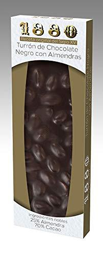 1880 turrón de chocolate negro con almendras estuche 200 gr