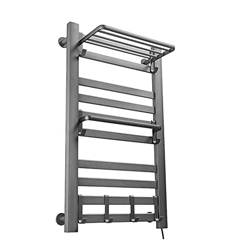 Calentador de toallas eléctrico, 10 barras de aleación de aluminio enchufable, toallero para baño montado en la pared tiempo incorporado impermeable secador, negro