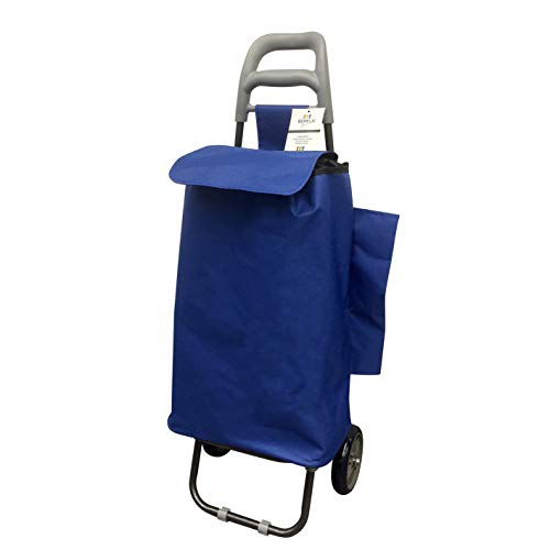 Berela - Rubstripe Carro para Compra con Ruedas de Goma Super Resistentes, Carro Compra Desmontable y Lavable con Amplia Apertura - Azul