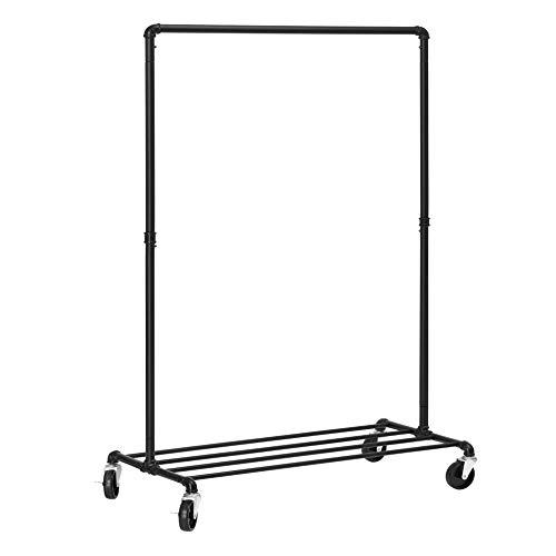 Songmics HSR61BK Kledingrek op wieltjes, belastbaar tot 90 kg, industrieel design, kapstok met 1 kledingstang en legplank, voor slaapkamer, waskeuken, zwart