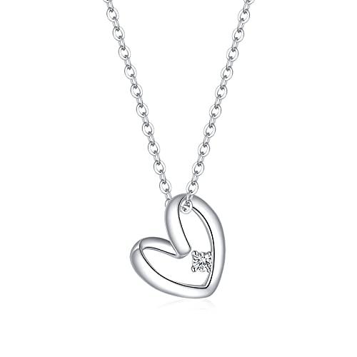 HMMJ S925 Silver Hipoalergénico Light Luxury Niche Design Sense Collar de Amor Chapado en Platino SCN450