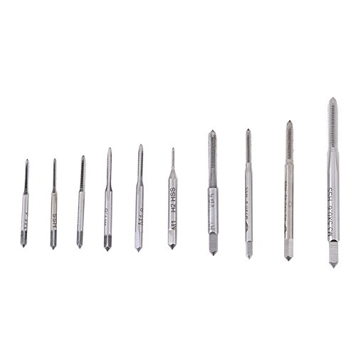 Micro Taps, M1 to M3.5 Machine Hand Screw Thread Taps Set Thread Metric Plug Tap Drill Bits Thread Screw Tap Tool Set 10pcs for Clocks and Watches Tapping, Mini Hand Tap