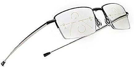 Progressive Multifocal Metal Reading Glasses Smart Zoom Folding Readers for Man & Women (1.5, Black)