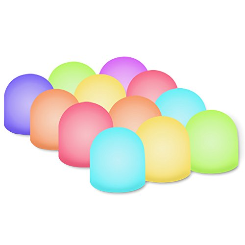 Novelty Place Color Changing Mini Nightlight, Multicolor LED Mood Lighting - Night Light for Kid's Bedroom, Bathroom, Living Room - Battery Powered (Pack of 12)