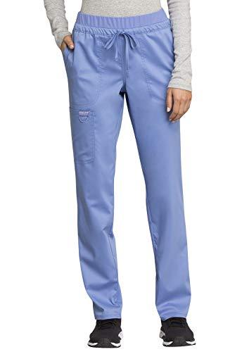 CHEROKEE Workwear WW Revolution Mid Rise Tapered Leg Drawstring Pant, WW105, S, Ciel Blue