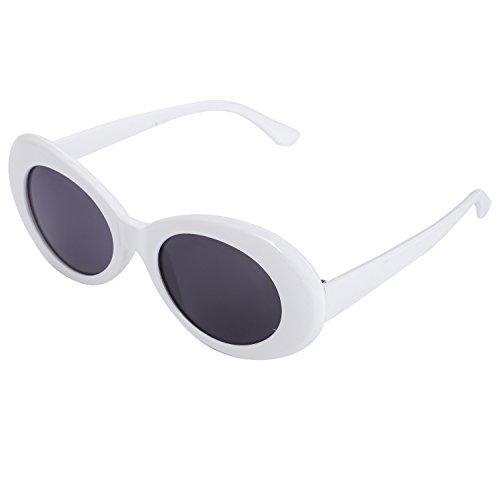 Fransande S17022 - Gafas de sol ovaladas para mujer, estilo retro, para hombre y mujer, estilo unisex, UV400, gafas de sol, color blanco