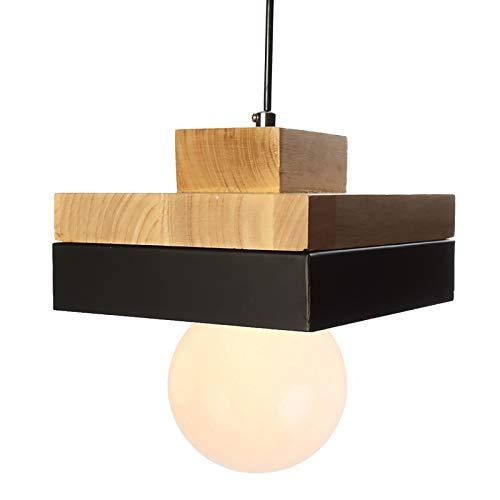 E27 Lámparas colgantes modernas Lámparas de techo Lámparas colgantes de barniz blanco contemporáneo Lámparas de techo Lámparas colgantes de madera y metal Lámparas colgantes Lámpara (negro)