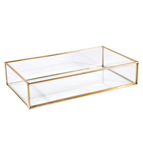 Home Details Vintage Mirrored Bottom Glass Keepsake Box Jewelry Organizer, Decorative Accent, Vanity, Wedding Bridal Party Gift, Candy Table Décor Jars & Boxes, Gold