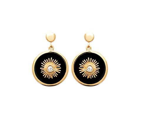 18K Gold Plated Drop Earrings - Black Agate with Cubic Zirconia - Free Velvet Bag