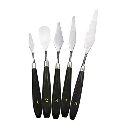 AstriuK 5PCS Painting Knife Set Palette Knife Stainless Steel Spatula Kit for Artist Canvas Oil Paint Color Mixing Painting Tool Set