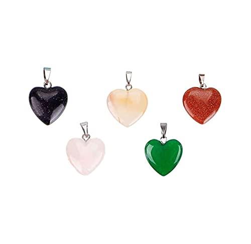 5 piezas Colgante de cristal Colgante en forma de corazón para hacer joyas, pulseras, collares, pendientes, regalos del día de San Valentín, el tamaño es 16x16x6 mm